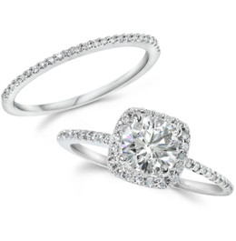 1CT Diamond Engagement Ring Cushion Halo Wedding Ring Set 14K White Gold (H-I, I1)