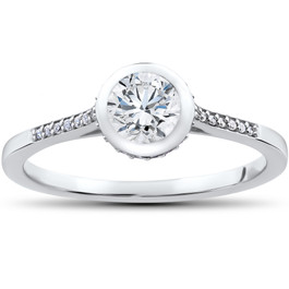 5/8 ct Lab Grown Diamond Aria Engagement Ring 14k White Gold (F, VS)