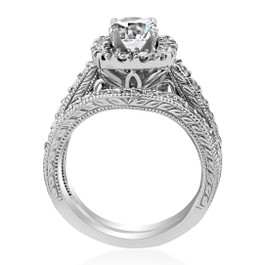 1 3/4ct Cushion Diamond Vintage Halo Engagement Ring Set 14K White Gold ((G-H), SI(1)-SI(2))