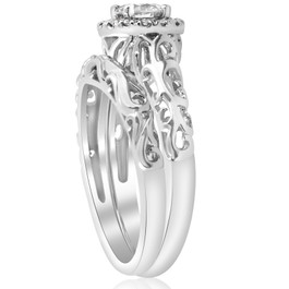 5/8ct Round Diamond Vintage Engagement Wedding Ring Set 14K White Gold (G/H, I1)