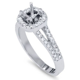 1/3ct Diamond Halo Ring 14K White Gold (G/H, I2)