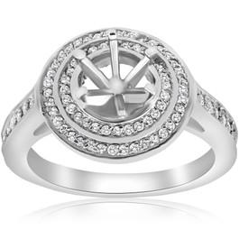 1/2ct Double Halo Diamond Ring Setting 14K White Gold (G/H, SI2-I1)