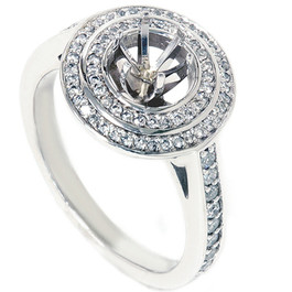 1/2ct Double Halo Diamond Ring Setting 14K White Gold (G/H, SI2-I1)