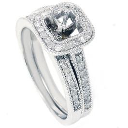 3/4ct Diamond Halo Ring Set 14K White Gold (G/H, I2)