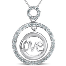White Gold 1/2ct Diamond Love Circle Pendant Necklace (G/H, I2)