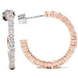 1 1/2ct Diamond Hoops 14K Rose Gold (G/H, I2)