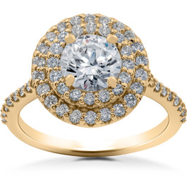 1 ct Double Halo Diamond Lab Created Engagement Ring 14k Yellow Gold (F, VS)
