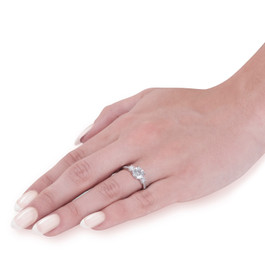 2 ct Round Diamond 3-Stone Lab Created Eco Friendly Engagement Ring White Gold (F, VS)