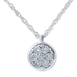 1/6ct Pave Diamond Pendant 14K White Gold (H, I2)