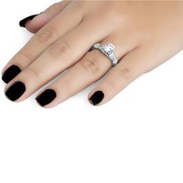 1 1/16ct Vintage Enhanced Diamond Engagement Ring 14K White Gold (G, I1)