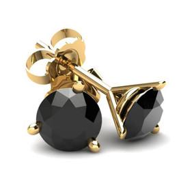 .50Ct Round Brilliant Cut Heat Treated Black Diamond Stud Earrings in 14K Gold Martini Setting (Black, AAA)
