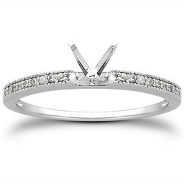 1/5ct Diamond Engagement Semi Mount Ring 14K White Gold (G/H, I2-I3)