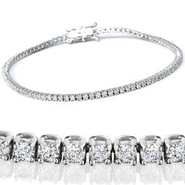 "2 1/2ct Genuine Diamond Tennis Bracelet Solid 14K White Gold 7"" ((G-H), (I1))"