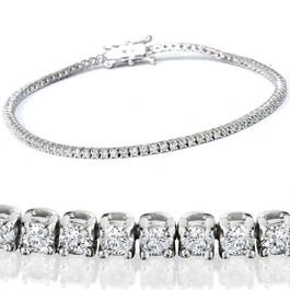 "2 1/2ct Genuine Diamond Tennis Bracelet Solid 14K White Gold 7"" (H, I1)"