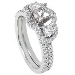1 1/10ct 3 Stone Diamond Engagement Ring Setting & Matching Band (G/H, I2)