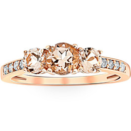 1ct Morganite & Diamond 3-Stone Ring 10k Rose Gold (Peach, I1)