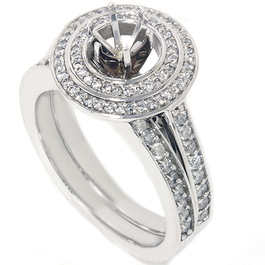 1ct Double Halo Engagement Ring Set 14K White Gold (G/H, SI2-I1)