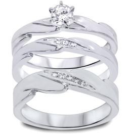 1/3ct Diamond Engagement Wedding Ring Trio Set 10K White Gold (I/J, I2-I3)