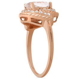 1 3/4ct Morganite Diamond Vintage Halo Engagement Anniversary Ring 14K Rose Gold (G/H, I1)