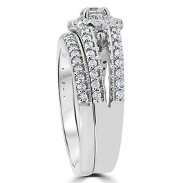 1 Carat Vintage Halo Diamond Engagement Wedding Ring Set 14K White Gold (G-H, I1)