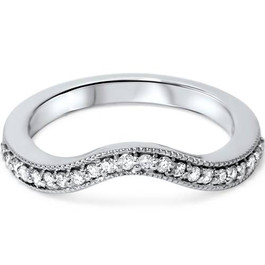 1/5ct Curved Diamond Wedding Band 14K White Gold (G/H, I1-I2)