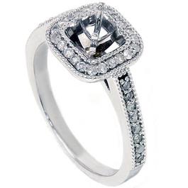 3/8 CT Round Halo Diamond Ring Setting 14K White Gold (G/H, I2)