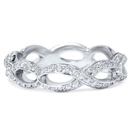 3/4ct Diamond Infinity Eternity Ring 14K White Gold (H/I, I1-I2)