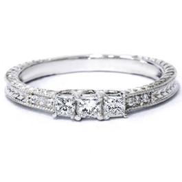 1/4ct Vintage Three Stone Princess Cut Diamond Engagement Ring 14K White Gold (H, SI2)