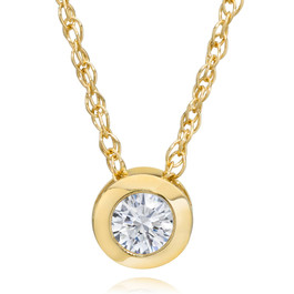 "14K Yellow Gold 1/4 ct Round Diamond Solitaire Bezel Pendant & 18"" Chain (L, SI3-I1)"