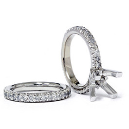 1 1/2ct Pave Diamond Engagement Wedding Ring Set 14K White Gold (G/H, I2)