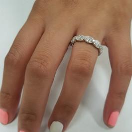 1/3 ct Diamond Infinity Vintage Wedding Ring 14K White Gold Lab Grown (F, VS)