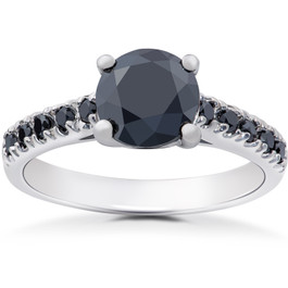 2 1/4 ct Black Diamond Solitaire Accent Engagement Ring 14k White Gold (H/I, I1-I2)
