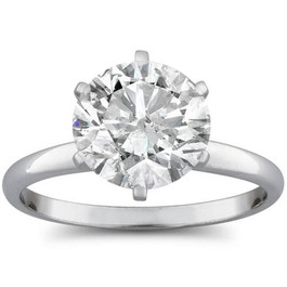 2 1/2ct Round Diamond Solitaire Engagement Ring 14K White Gold (H/I, I2)