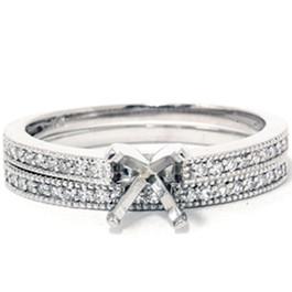 1/4t Diamond Engagement Wedding Ring Semi Mount Set 14K White Gold (G/H, I2)