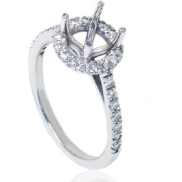 1/3ct Halo Diamond Ring Setting 14K White Gold (G/H, I1-I2)