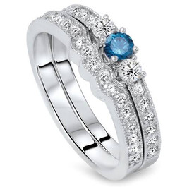 3/4ct Blue Diamond Three Stone Engagement  Wedding Ring Set 14K White Gold (G/H, I1)