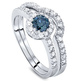 1ct Blue & White Diamond Engagement Ring Set 14K White Gold (G/H, I2)