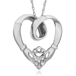 Claddagh Diamond Pendant 10K White Gold (G/H, I2-I3)