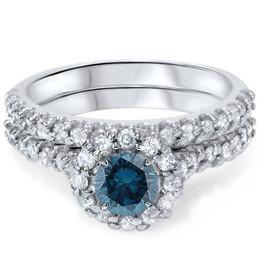 1 7/8ct Blue Diamond Halo Engagement Wedding Ring Set 14K White Gold (G/H, I1)