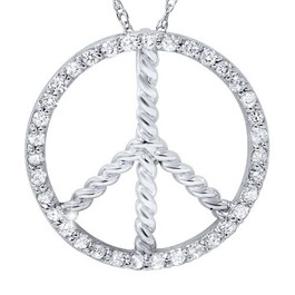 3/8ct Peace Diamond Pendant 14K White Gold (G/H, I2)