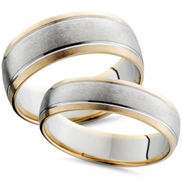 Two Tone 14k White & Yellow Gold Matching Wedding Ring Set His Hers Brushed Band