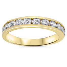 1 ct Diamond Wedding Anniversary Ring 14K Yellow Gold Ring Band (G/H, I1)
