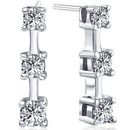 1ct Three Stone Diamond Earrings 14K White Gold (G/H, I2)