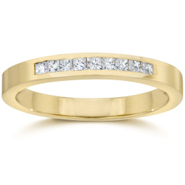 1/4ct Princess Cut Diamond Wedding Yellow Gold Ring (H/I, I2)