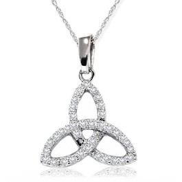 1/5ct Celtic Knot Diamond Pendant 14K White Gold (G/H, I2-I3)