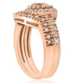 1ct Morganite & Diamond Engagement Ring Set 14K Rose Gold (G/H, I2-I3)