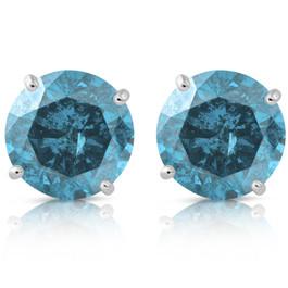 1 5/8ct Blue Diamond Studs 14K White Gold (Blue, )
