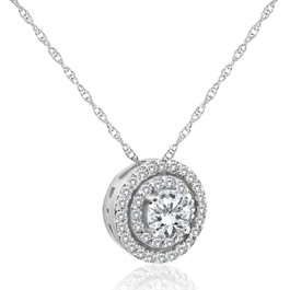 1ct Diamond Double Halo Pendant 14K White Gold (H-I, SI2-I1)