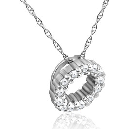 1/3ct Diamond Circle Pendant 14K White Gold 5mm (G/H, I1)