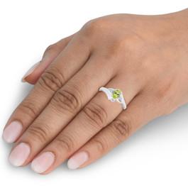 5/8ct Oval Peridot & Diamond Ring 14K White Gold (G/H, I2-I3)